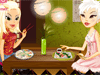 Warm Sushi Bar: The cute girl loves sushi - the Japanese traditional food. She is going to a Sushi bar where a friend is waiting for her. Help her dress up quickly to come timely and give her advice on what to eat.