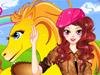 Girl and cute horse: This girl has a cute and handsome horse. She wants to breathe some fresh air with her buddy, please dress her up before they go out. You can also change the horse body color! Enjoy!