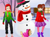 Fun In Snow Dress: It's fun today as the first snow has covered the town and the holiday spirit is in the air. These kids are brothers and together with their puppy have decided to have some fun in the snow and create the cutest snowman ever. Dress the kids, the puppy and the snowman and have fun!