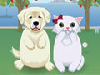 What a shiny day fort the little doggy Bob and his cute friend Kitty! Help these two on picnic. Choose nice clothes for both. Look for some food in the basket and prepare their picnic meal. Don't let them starve!