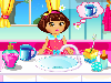 Show your babysitting skills and technique and help our cute doll Dora to complete the task. Let's help the Dora to brush her teeth, then dress up her and also don't forget to playing games outside. Enjoy and have fun girls!