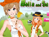 The sisters Bella and Sarah like farm life and they are often going to a farm at their holidays. After a relevant make up and suitable dress up in the morning, they are spending their all day under the sun light. Can you make up and dress up them?