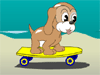 Help Maxim, the little puppy to ride his skateboard along the seaside and grab all the bones, while avoiding the obstacles. Use left/right arrow keys to move, Up arrow key to jump and Down arrow key to duck.